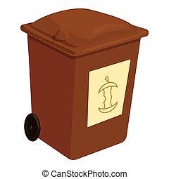 Brown trashcan icon, cartoon style