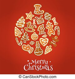 Christmas ball symbol with gingerbread cookie - Christmas...