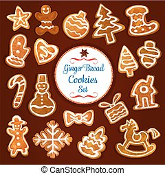 Christmas gingerbread cookie and biscuit set - Christmas...