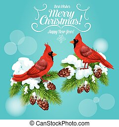 Christmas card with cardinal bird on pine tree - Christmas...