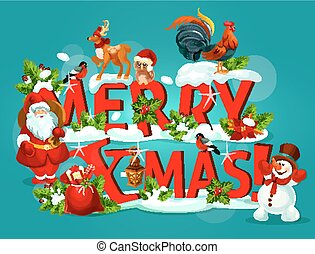 Merry Christmas poster with snowy letter and Santa - Merry...
