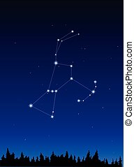 Orion Constellation on dark blue sky  background