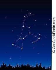 Orion Constellation on dark blue sky  background