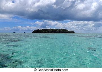 Small island off the coast of Tongatapu island in Tonga....