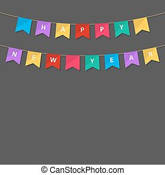 Happy New Year bunting flags. Vector