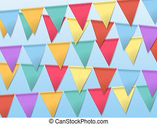 Bunting Flags for Holidays. Template for Poster