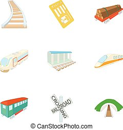 Electric train icons set, cartoon style - Electric train...