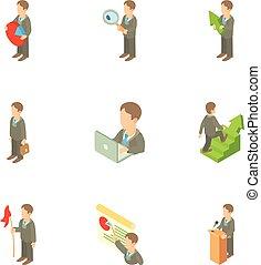 Business icons set, cartoon style - Business icons set....