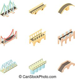 Facility for crossing river icons set. Cartoon illustration...