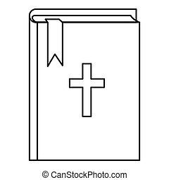 Bible icon, outline style - Bible icon. Outline illustration...