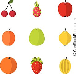 Types of fruit icons set, flat style - Types of fruit icons...