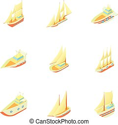Ships icons set, cartoon style