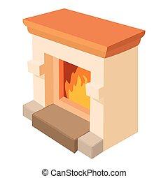Fireplace icon, cartoon style