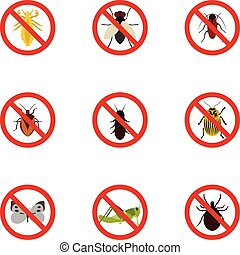 Harmful insects icons set, flat style - Harmful insects...