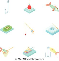 Fishery icons set, cartoon style - Fishery icons set....