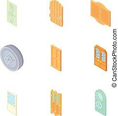 Doorway in house icons set, cartoon style - Doorway in house...