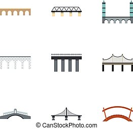 Bridge transition icons set, flat style - Bridge transition...