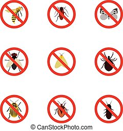 Signs of insects icons set, flat style