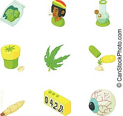 Cannabis icons set, cartoon style - Cannabis icons set....