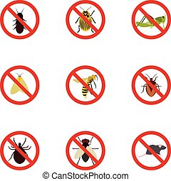 Prohibited insects icons set, flat style