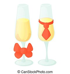 Wedding glasses icon, cartoon style