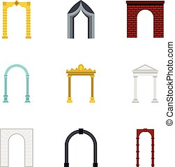 Archway icons set, flat style - Archway icons set. Flat...