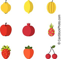 Fruit icons set, flat style - Fruit icons set. Flat...