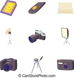 Photographing icons set, cartoon style - Photographing icons...