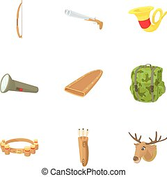 Hunting in forest icons set, cartoon style - Hunting in...