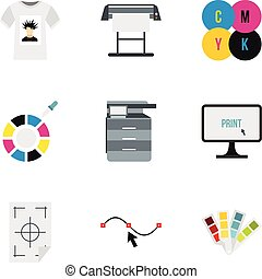 Printing in polygraphy icons set, flat style - Printing in...