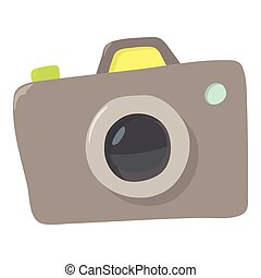 Photocamera icon, cartoon style - Photocameraicon. Cartoon...