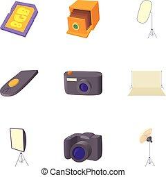 Taking photo icons set, cartoon style - Taking photo icons...