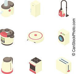 Electronic kitchen equipment icons set