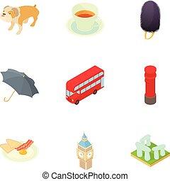 England icons set, cartoon style - England icons set....