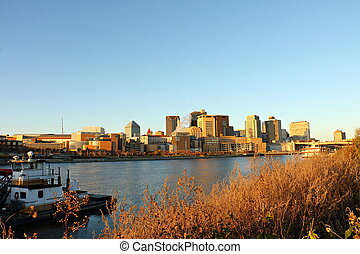 St. Paul River Front and Skyline over the Mississippi River...