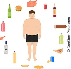 Vector cartoon fat man and unhealthy food