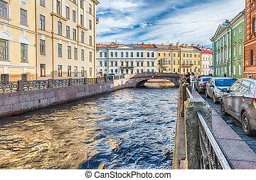 Winter Canal near Hermitage museum, St. Petersburg, Russia -...
