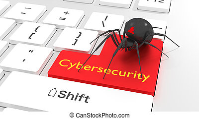 Cybersecurity privacy concept spider on white keyboard -...