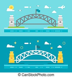 Flat design Sydney harbour bridge illustration vector