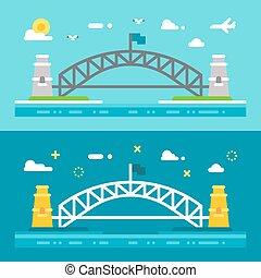 Flat design Sydney harbour bridge