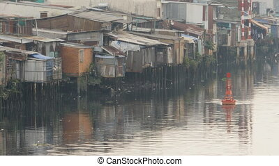 Slum on the river. Saigon. Vietnam. 5 View. - Views of the...