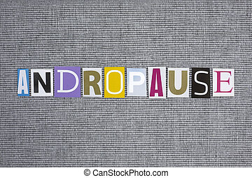 andropause word on grey background