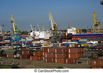 Cargo port in the Sankt Petersburg, Russia