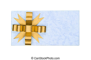 Top view of gold ribbon on gift box isolated on white background
