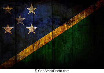 Solomon Islands Flag painted on old wood background