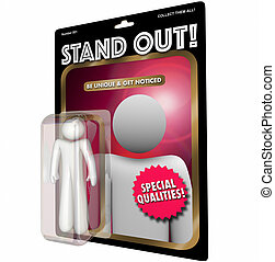 Stand Out Be Unique Person Best Action Figure 3d Illustration