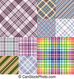 Set colorful geometric seamless patterns