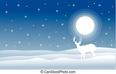 Christmas landscape deer with full snow