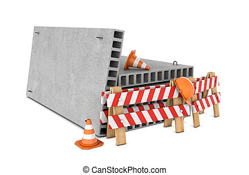 Rendering of traffic fences, cones, helmet and concrete floor slabs isolated on white background.