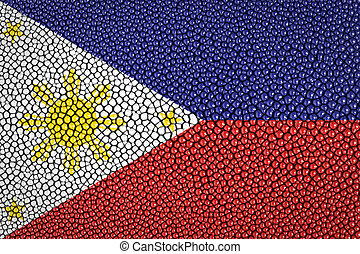 Philippines Flag painted on stingray skin texture